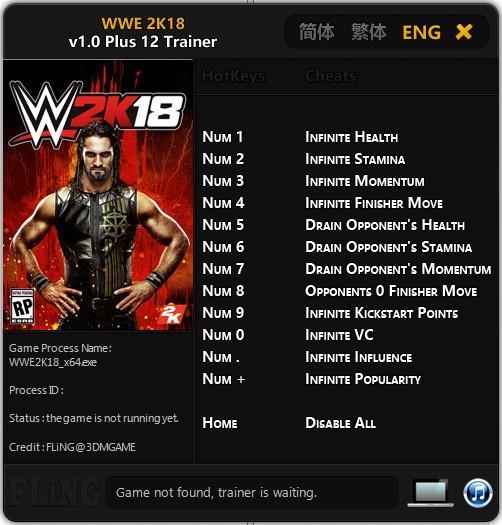 WWE 2K18: Trainer (+12) [1 0] {FLiNG} - Download - GTrainers