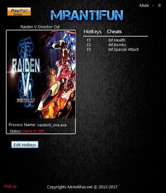 Raiden V: Director's Cut - Trainer +3 v1.02 {MrAntifun}