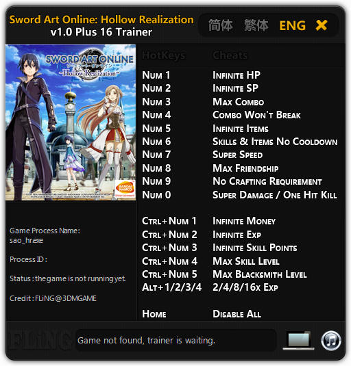 Sword Art Online: Hollow Realization Deluxe Edition - Trainer +16 v1.0 {FLiNG}