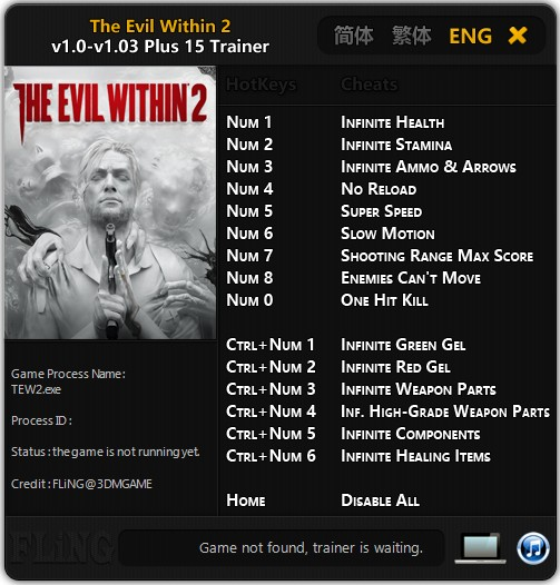 The Evil Within 2: Trainer (+15) [1.0 - 1.03] {FLiNG}