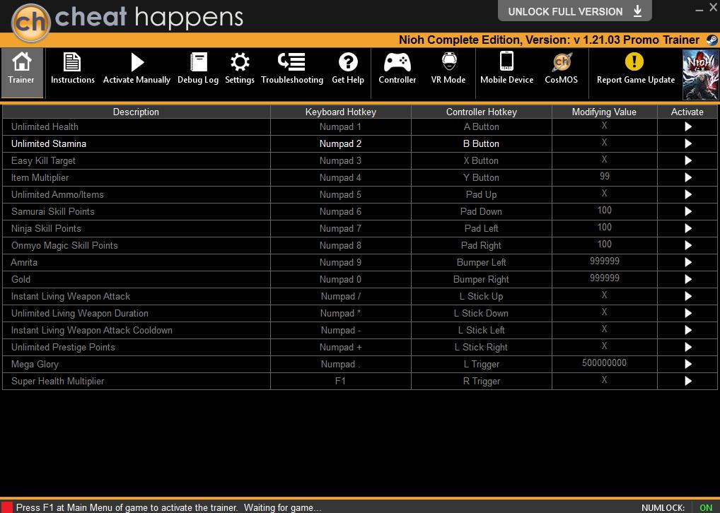 Nioh: Complete Edition - Trainer +16 v1.21.03 {CheatHappens.com}
