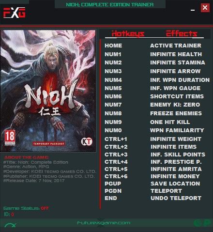 Nioh: Trainer (+17) [1.21] {FutureX}