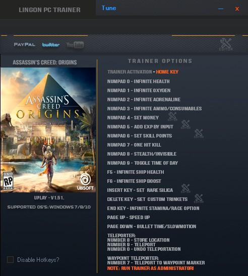 Assassin´s Creed: Origins: Trainer (+15) [1.03] {LinGon}