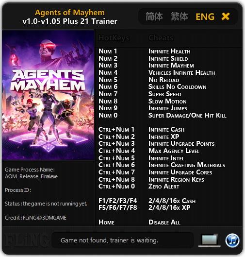 Agents of Mayhem: Trainer (+21) [1.0 - 1.05] {FLiNG}