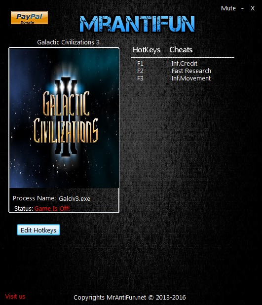 Galactic Civilizations 3: Trainer (+3) [2.61] {MrAntiFun}