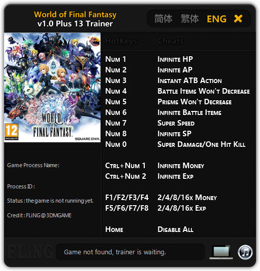 World of Final Fantasy: Trainer +13 v1.0 {FLiNG}