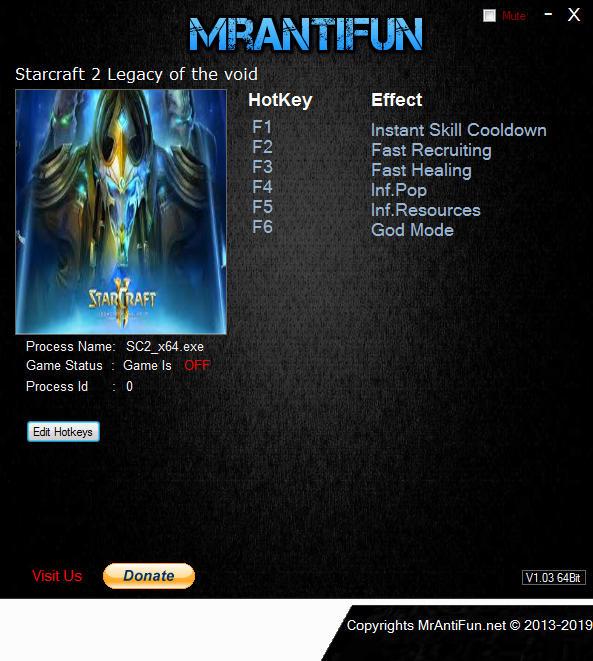 StarCraft 2: Legacy of the Void: Trainer (+6) [4.0.0.59587: x64] {MrAntiFun}
