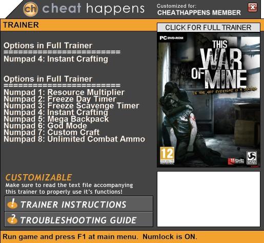 This War of Mine: Trainer +8 V2 (STEAM+DRMFREE v3.0.3) {CheatHappens.com}