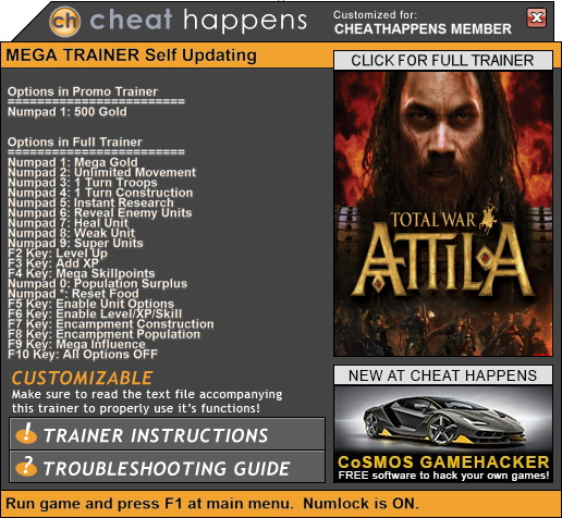 Total War: ATTILA - Trainer +17 (PATCH 11.14.2017 +CHARLEMAGNE) {CheatHappens.com}