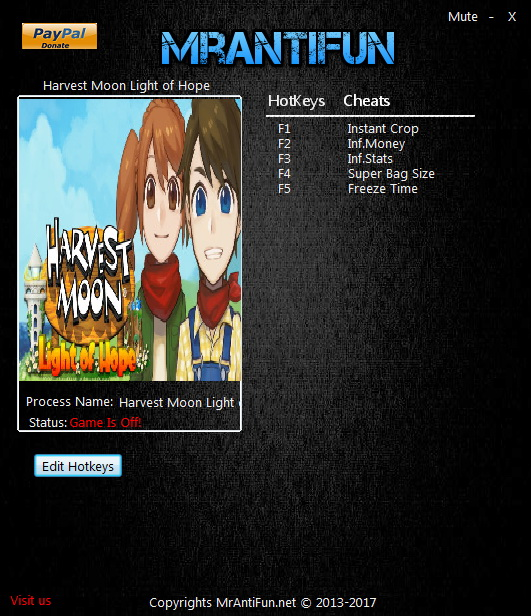 Harvest Moon: Light of Hope - Trainer +5 v1.00 {MrAntiFun}