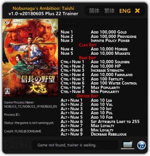 Nobunaga's Ambition: Taishi - Trainer +22 v1.0 - 2018.06.05 {FLiNG}