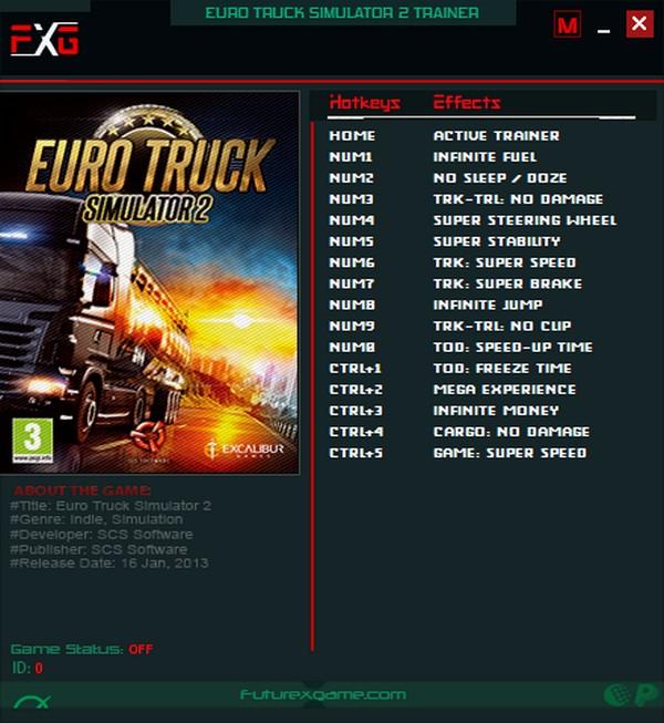 Euro Truck Simulator 2: Trainer +13 v1.16.x - v1.32.x {FutureX}