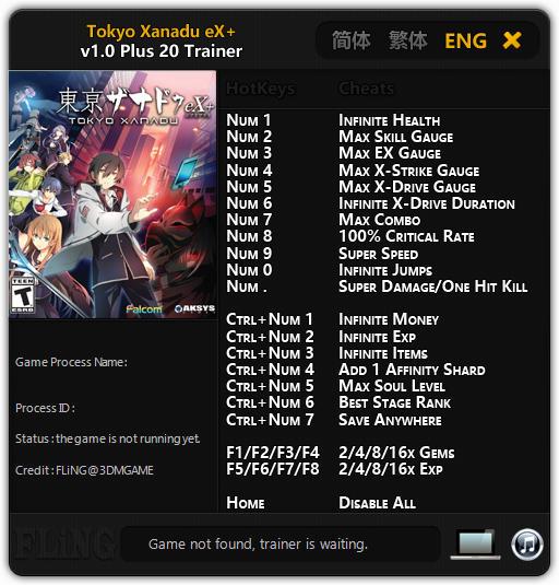 Tokyo Xanadu eX+ Trainer +20 v1.0 {FLiNG}