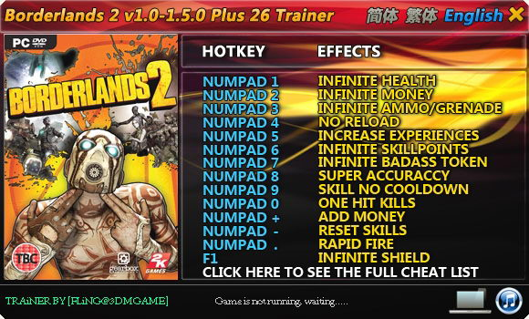 Borderlands 2 GAME TRAINER v1.4.0 +26 Trainer {Fling}