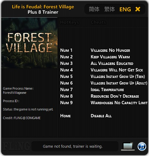 Life is Feudal: Forest Village: Trainer (+8) [Update: 27 12 2017