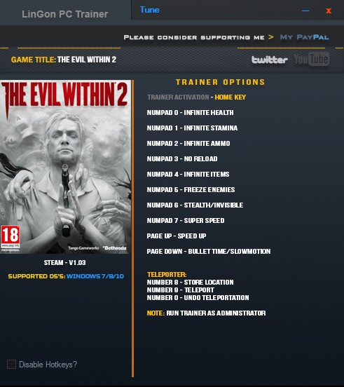 The Evil Within 2: Trainer (+12) [1.03] {LinGon}