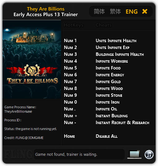 They Are Billions: Trainer +13 Early Access Updated 2017.12.12 {FLiNG}