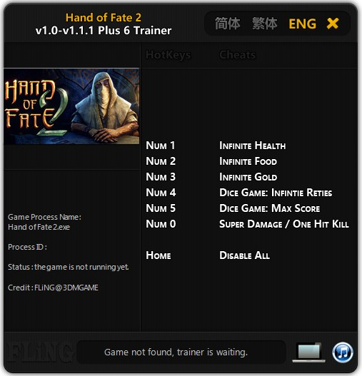 Hand of Fate 2: Trainer (+6) [1.0 - 1.1.1] {FLiNG}