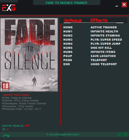Fade to Silence: Trainer (+7) [1.0.626] {FutureX}