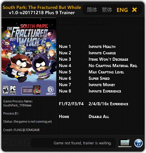 South Park: The Fractured But Whole: Trainer (+9) [1.0 - 20171218] {FLiNG}