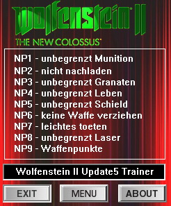 Wolfenstein 2: The New Colossus: Trainer (+9) [Update 5] {dR.oLLe}