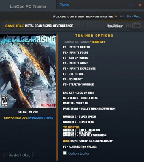 Metal Gear Rising: Revengeance - Trainer +21 v1.2.01 {LinGon}