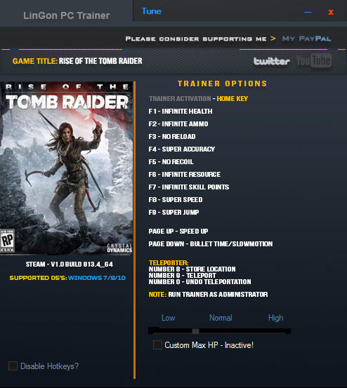 Rise of the Tomb Raider: Trainer +14 v1.0 Build 813.4_64 {LinGon}