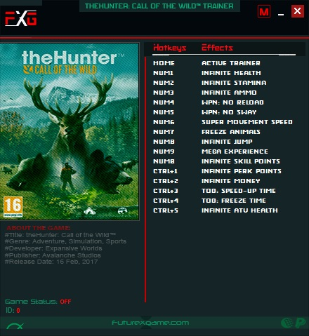 theHunter: Call of the Wild - Trainer +15 v1.0-v1898534 {FutureX}