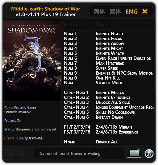 Middle-earth: Shadow of War - Trainer +19 v1.0 - 1.11 {FLiNG}
