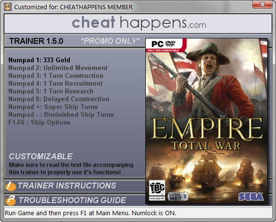 empire total war mega trainer   build  cheathappenscom
