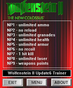 Wolfenstein 2: The New Colossus: Trainer +9 [Update 6] {dR.oLLe}