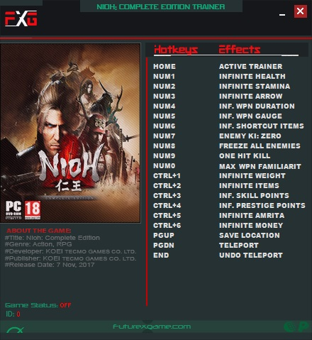 Nioh: Complete Edition - Trainer (+17) [1.21] {FutureX}