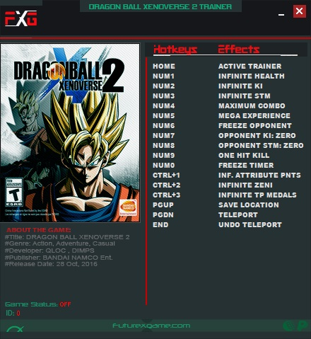 Dragon Ball Xenoverse 2: Trainer +14 v1 09 {FutureX