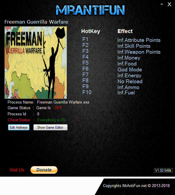 Freeman: Guerrilla Warfare - Trainer +10 v0.181 {MrAntiFun}
