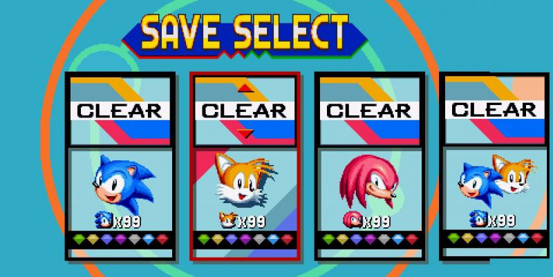 Sonic Mania: Save Game (The game done 100%, Collected all the gold medals)