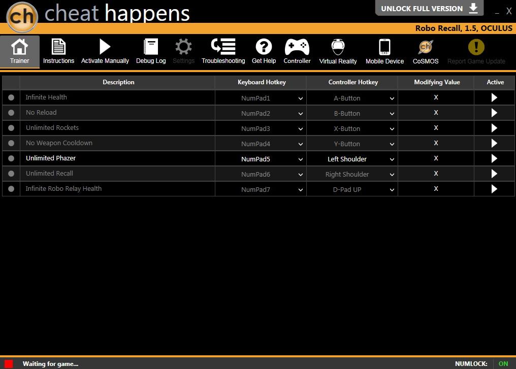 Robo Recall: Trainer +7 v1.5 {CheatHappens.com}