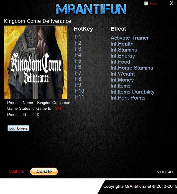 Kingdom Come: Deliverance: Trainer +11 v1.2.5 {MrAntiFun}