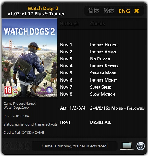 Watch_Dogs 2: Trainer +9 [1.07 - 1.17] {FLiNG}