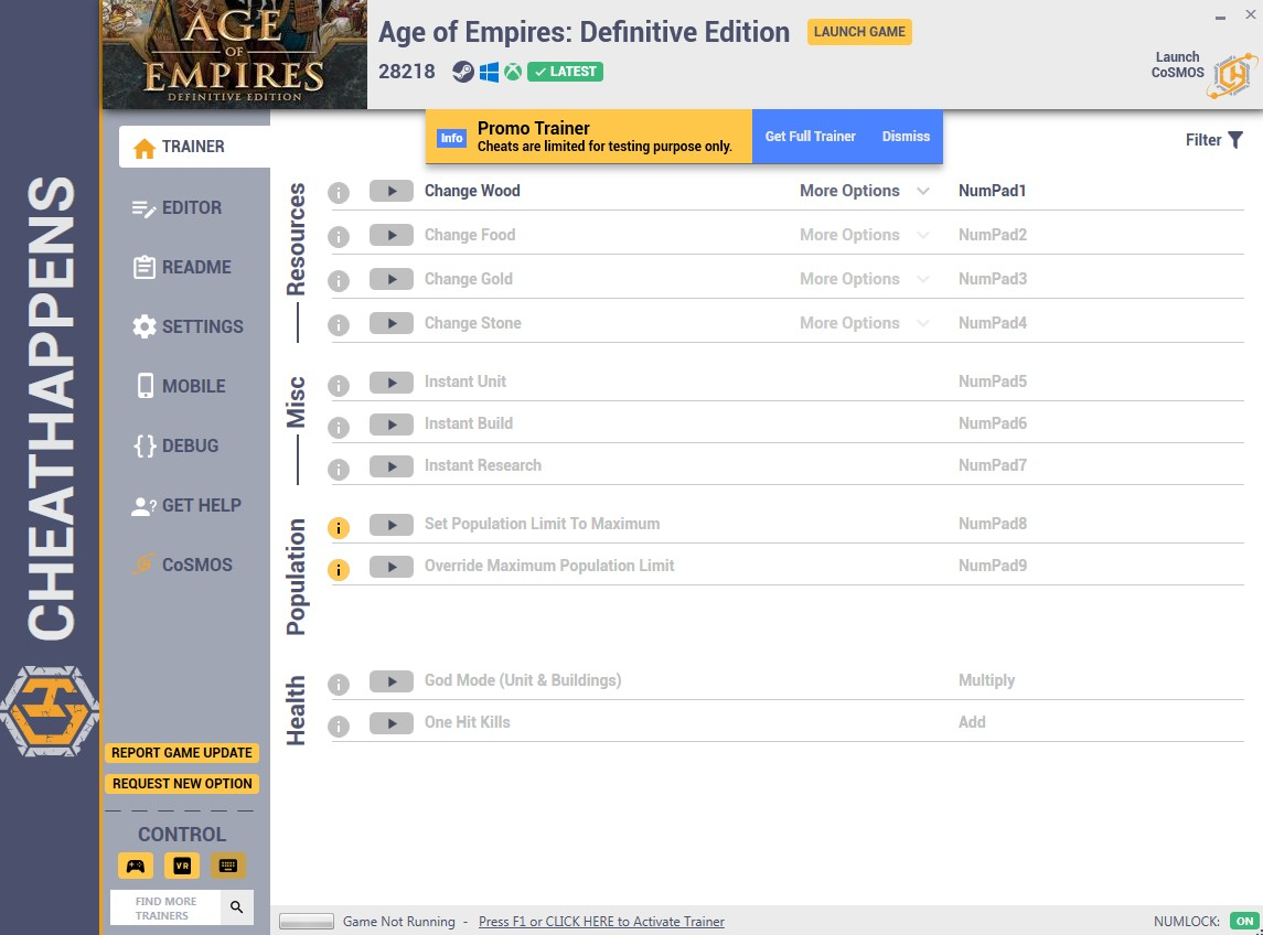 Age of Empires: Definitive Edition - Trainer +9 (BUILD 5101) {CheatHappens.com}