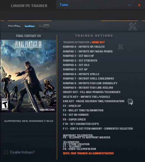 Final Fantasy XV: Trainer +22 v1.01 {LinGon}