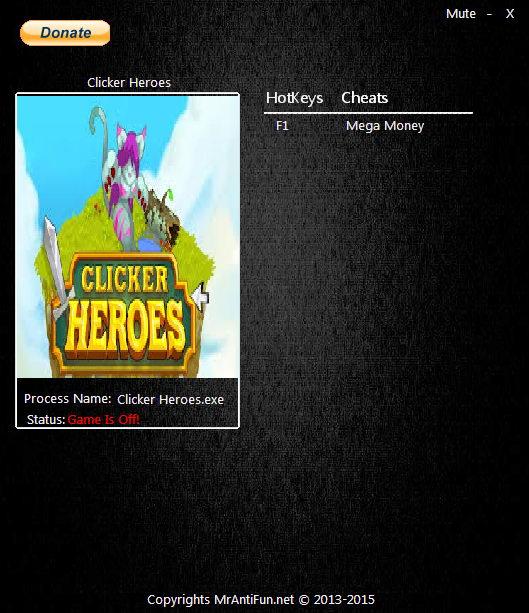 Clicker Heroes: Trainer (+1 Money) [1.0e11] {MrAntiFun}