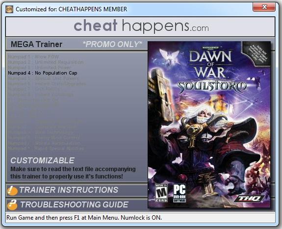 Warhammer 40k: Dawn of War - Soulstorm - Trainer +18 v1.3.3107442 (STEAM) {CheatHappens.com}
