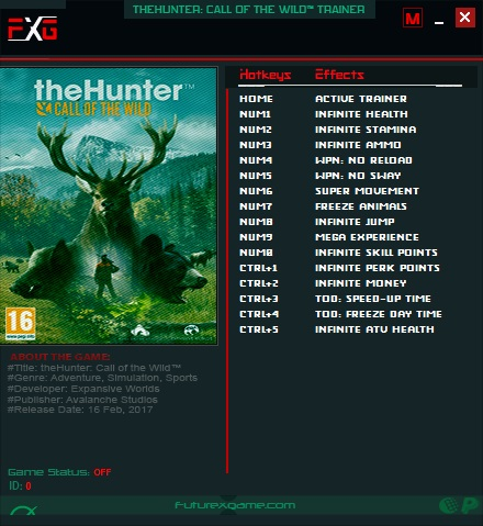 theHunter: Call of the Wild - Trainer +13 v1.17 {FutureX}