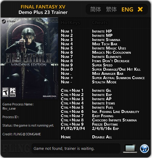 Final Fantasy XV: Trainer +23 Demo {FLiNG}
