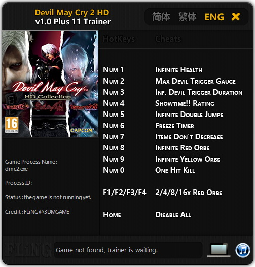 Devil May Cry 2 HD Collection: Trainer +11 v1.0 {FLiNG}