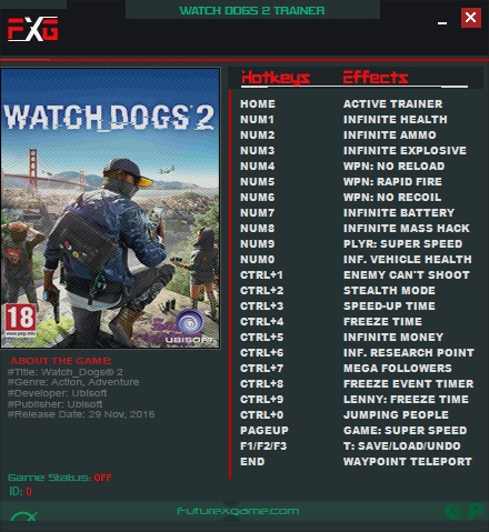 <b>Watch Dogs</b> 2: Trainer +23 v1.07 - v1.017 {FutureX} - Download ...