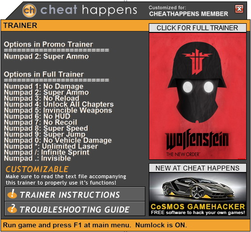 Wolfenstein: The New Order - Trainer +13 (PATCH 03.09.2018) {CheatHappens.com}