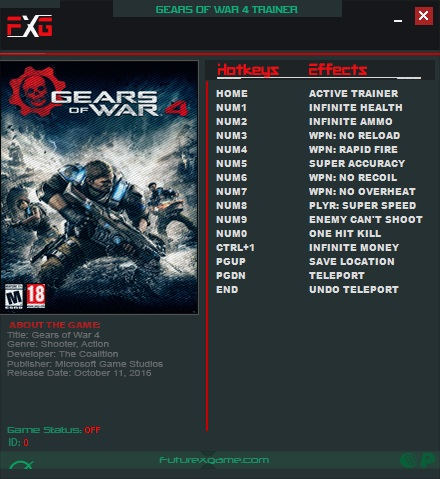 Gears of War 4: Trainer +12 v12 0 0 2 {FutureX} - Download