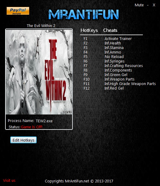 The Evil Within 2: Trainer +11 v1.01 {MrAntiFun}