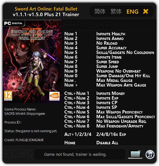 Sword Art Online: Fatal Bullet - Trainer +21 v1 5 0 {FLiNG